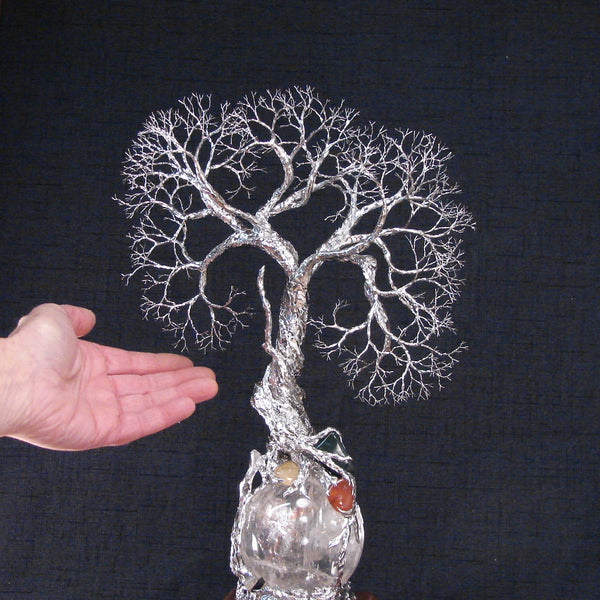 Metal and wire Tree of Life Tree Spirit Guide sculpture, Rainbow Hematoid Quartz Sphere and Gemstones Lamp, one of a kind original artwork