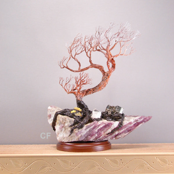 Carry Me Away with Joy sculpture, Rubellite Tourmaline, Lepidolite, yellow Opal, Iron Pyrite Cubes, Quartz Crystal, original art