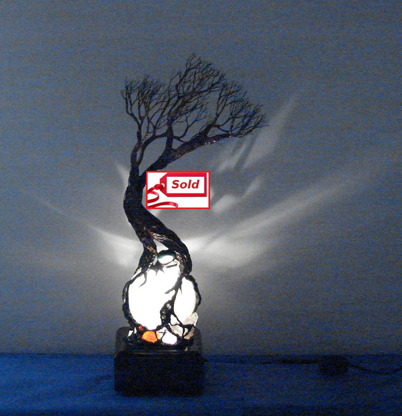 Metal and wire Tree of Life sculpture, Selenite Sphere and Gemstones Lamp, Moon Trees Lamp, one of a kind original artwork
