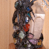 "Metal Tree of Life sculpture, Quartz Crystal Gemstone Lamp, ""Old Soul"", one of a kind original artwork"