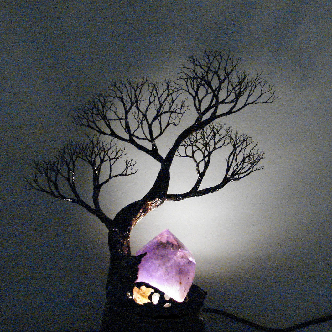 Metal Tree of Life sculpture, Amethyst Quartz Crystal Gemstone Lamp,