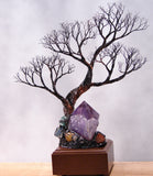 "Metal Tree of Life sculpture, Amethyst Quartz Crystal Gemstone Lamp, ""Peaceful Balance"", one of a kind original artwork"