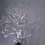 Wire and metal Tree Of Life sculpture, Ray of Hope, Madagascar natural Labradorite with sculptured Hearts
