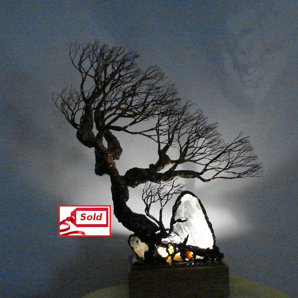 "Metal Tree of Life sculpture, Quartz Crystal and Gemstones Lamp, ""Reach up and Reach Out"", one of a kind original artwork"