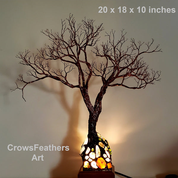 Spiritual Peace Tree sculpture, colorful gemstone statement accent lamp, one of a kind original artwork