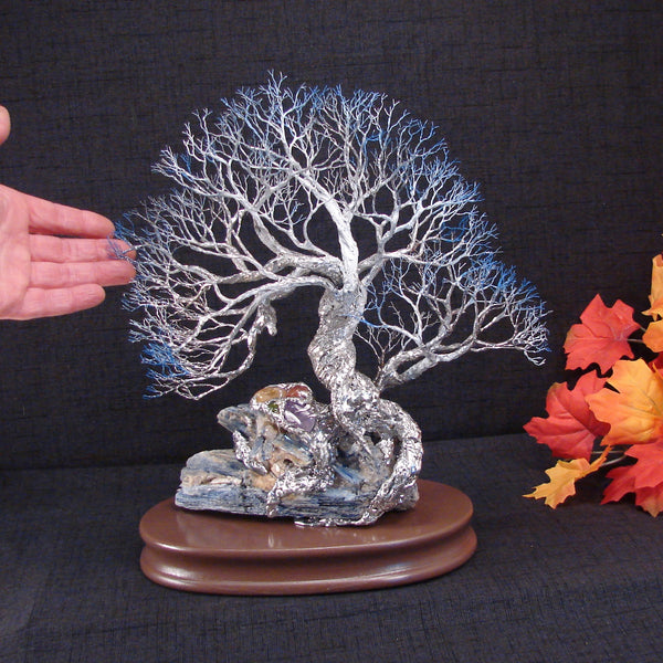 Wire and metal Tree sculpture, Spirit of Perseverance, Blue Kyanite and other semi-precious gemstones