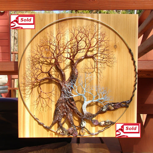 Wire and metal Tree sculpture, Walk Softly Speak Softly, wood metal gemstone wall hanging decor, 16