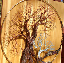 "Wire and metal Tree sculpture, Walk Softly Speak Softly, wood metal gemstone wall hanging decor, 16"" original art"