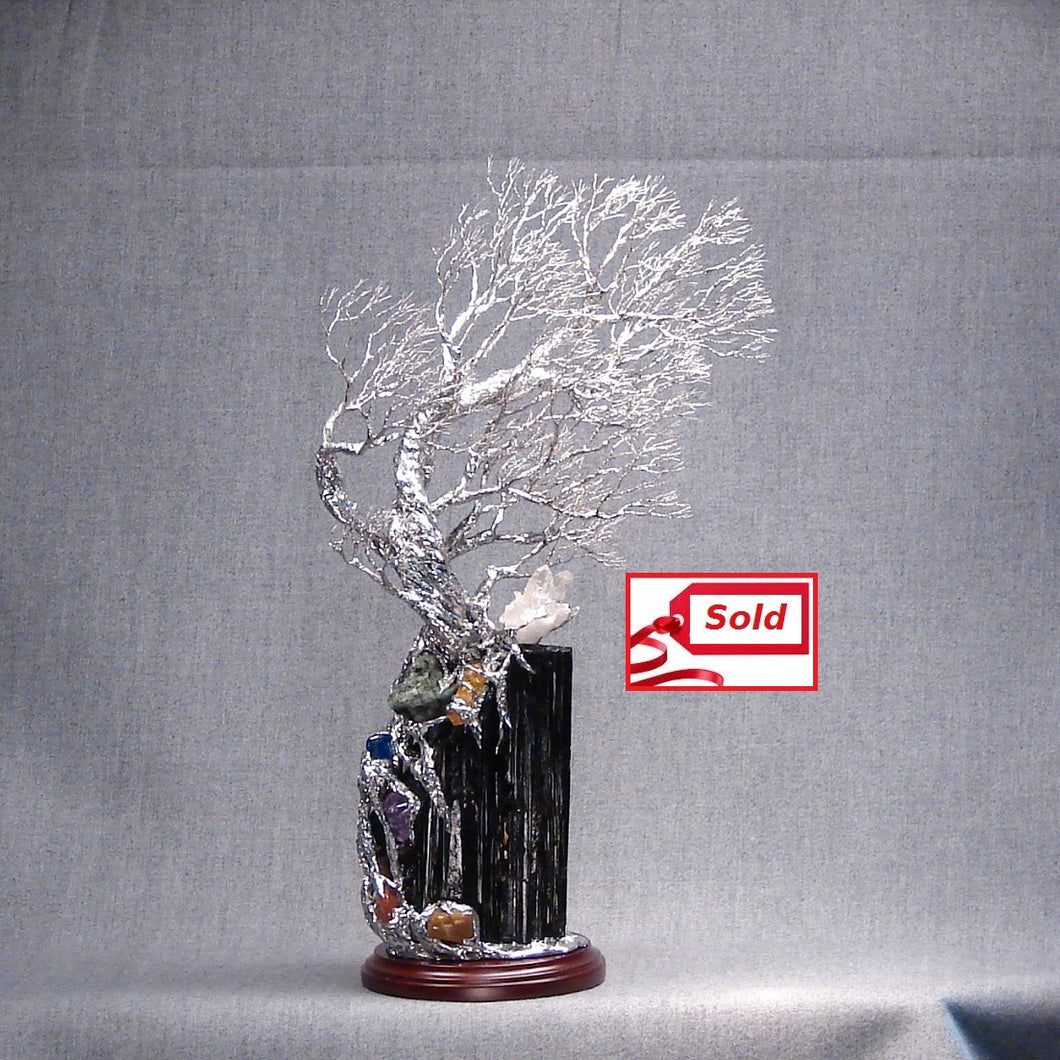 Wire and metal Tree sculpture, Which Way?, Black Tourmaline with precious and semi-precious gemstones