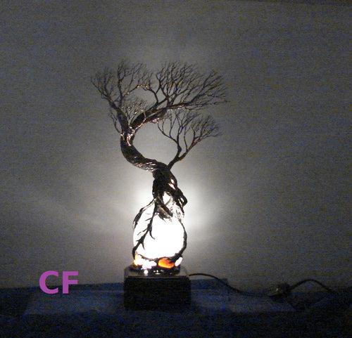 Wire and metal Tree sculpture, Ancient Tree and the Tree Spirit, Rainbow Quartz Sphere, accent LED table lamp