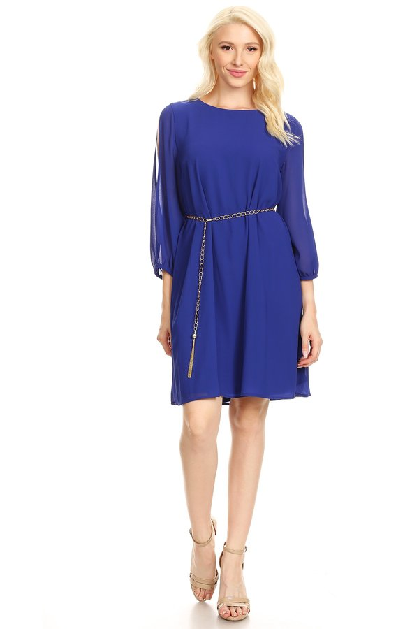 Romantic Long Sleeve Royal Blue Shift Dress With Belt
