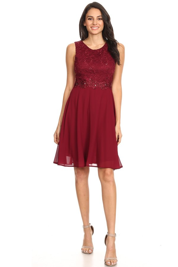 Forever Beautiful Knee Lenght Burgundy Short Dress