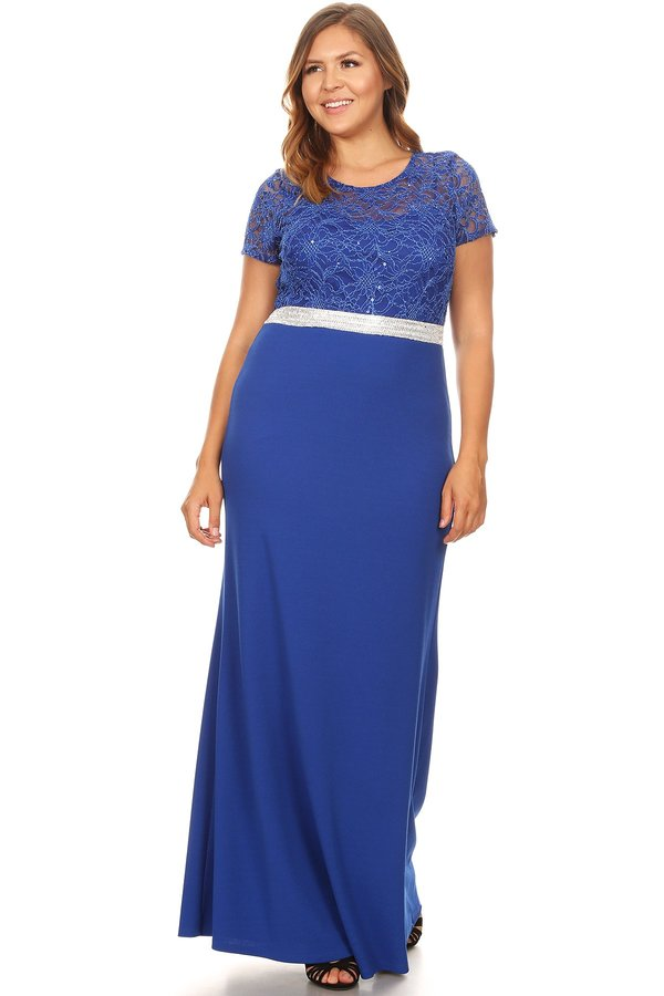 Short Sleeve Duo Fabric Plus Size Long Dress