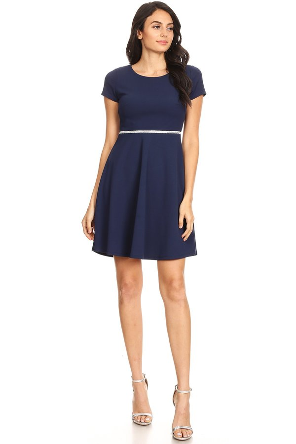 Classically Chic Skater Dress in Navy