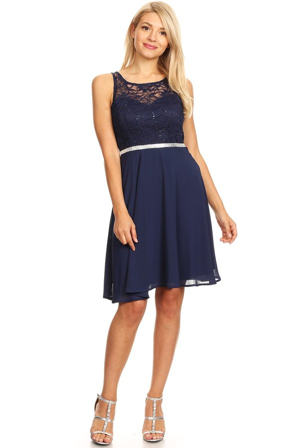 Princess Knee Lenght Navy Chiffon Lace Dress
