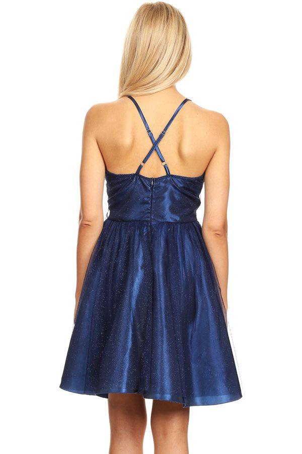 Exquisite Cross Back Short Navy Party Dress