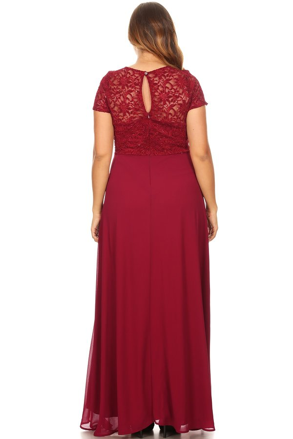 Duo Fabric Plus Size Long Dress