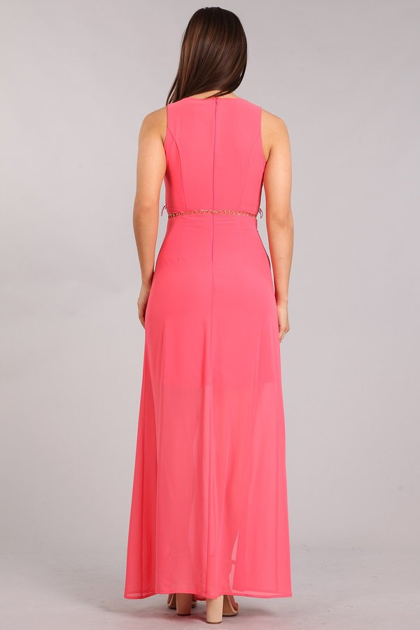 Sleeveless M-Slit Maxi Dress