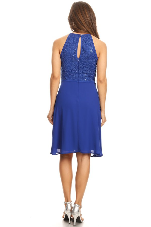 Enchanting Sequin Lace Halter Royal Blue Short Dress