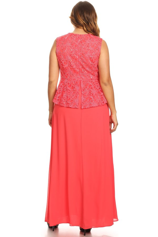 Peplum Long Dress Sleeveless Coral Plus Size