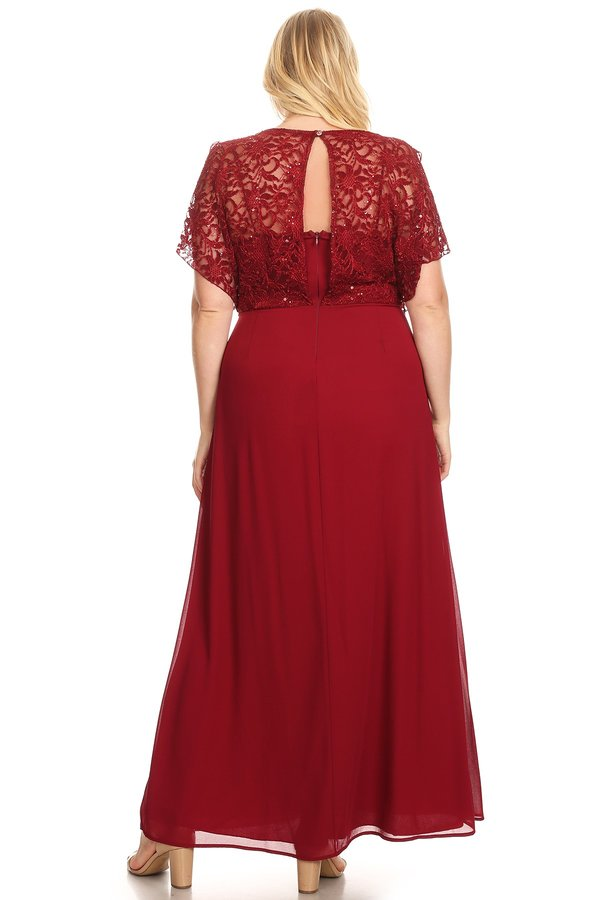 Graceful Cascade Sequin Lace Top Burgundy Plus Size