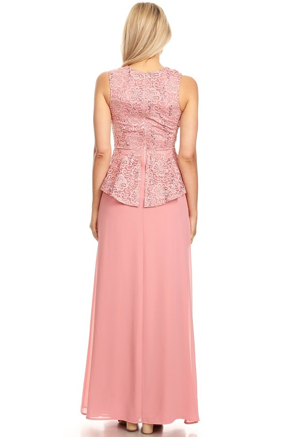 Peplum Long Dress Sleeveless Dusty Rose