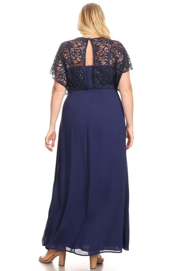 Graceful Cascade Sequin Lace Top Navy Plus Size
