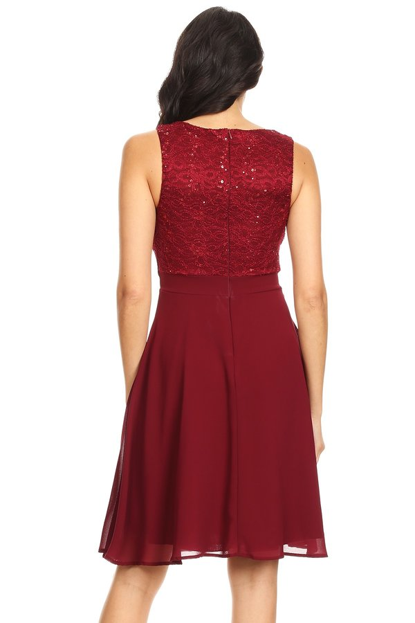 Simple But Elegant Knee Lenght Burgundy Short Dress