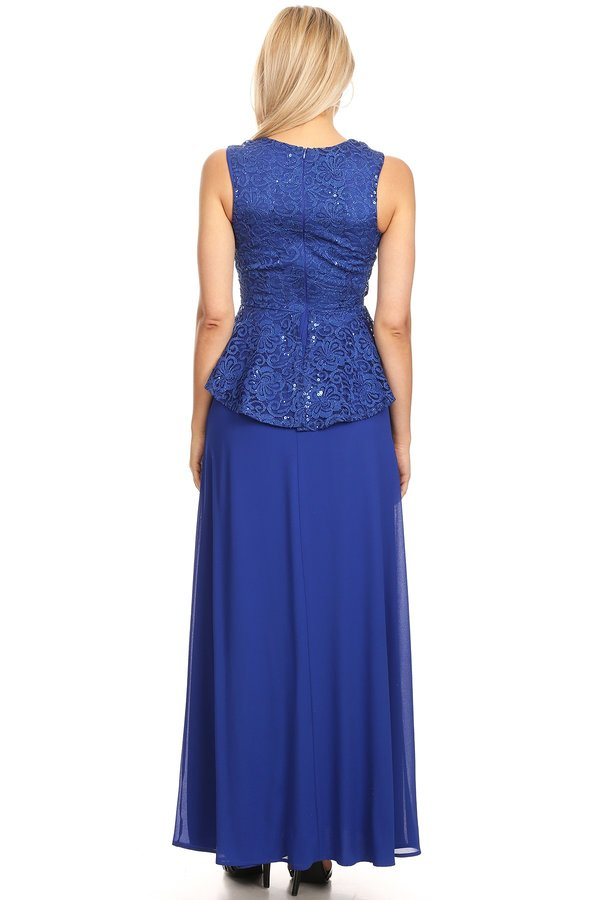 Peplum Long Dress Sleeveless Royal Blue