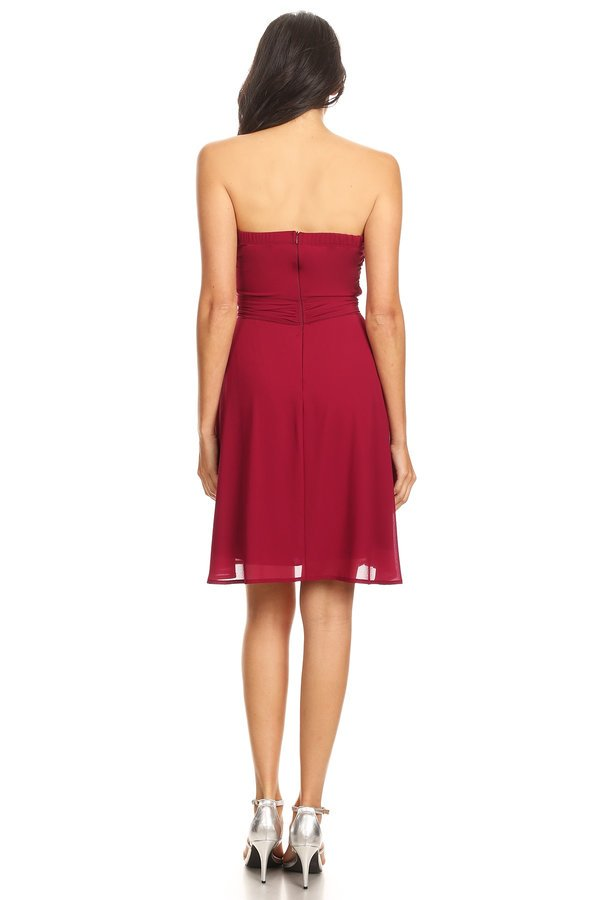 Burgundy Scrunch Waist Tie Dress