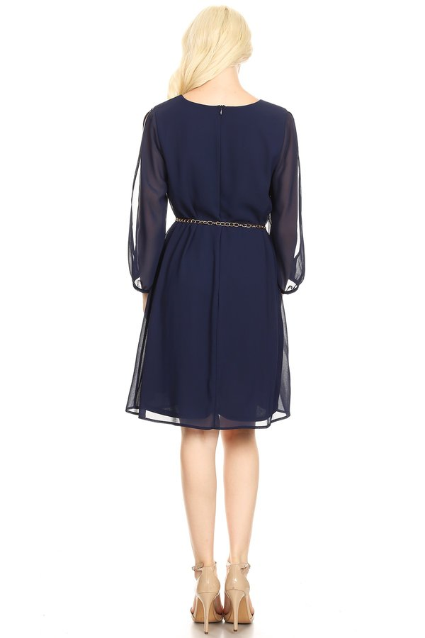 Romantic Long Sleeve Navy Shift Dress With Belt