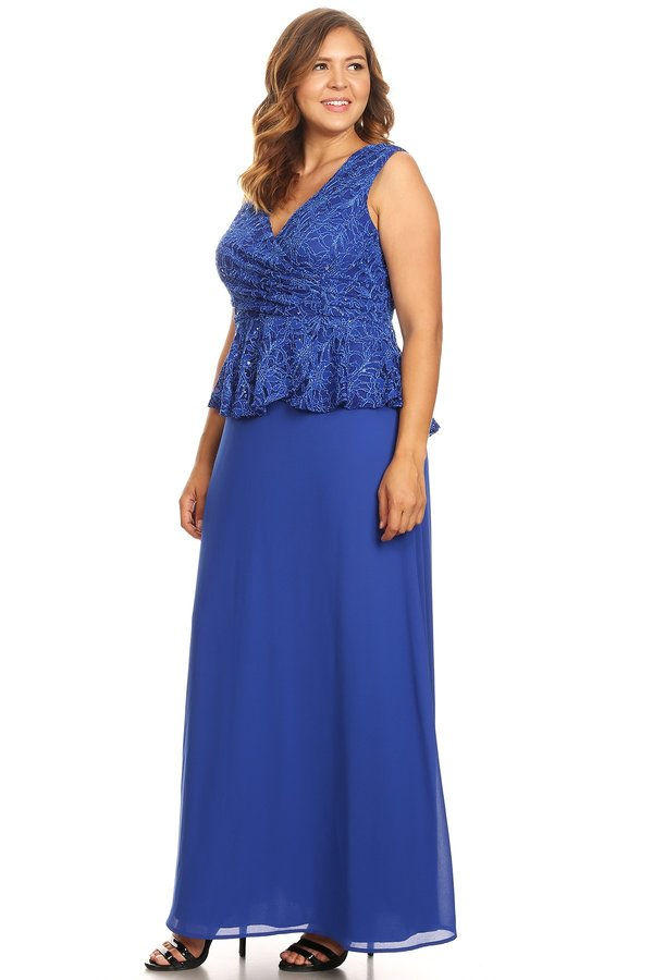 Peplum Long Dress Sleeveless Royal Blue Plus Size