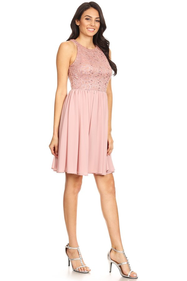 Prom Short Simple Bridesmaids Dusty Pink Formal Dress