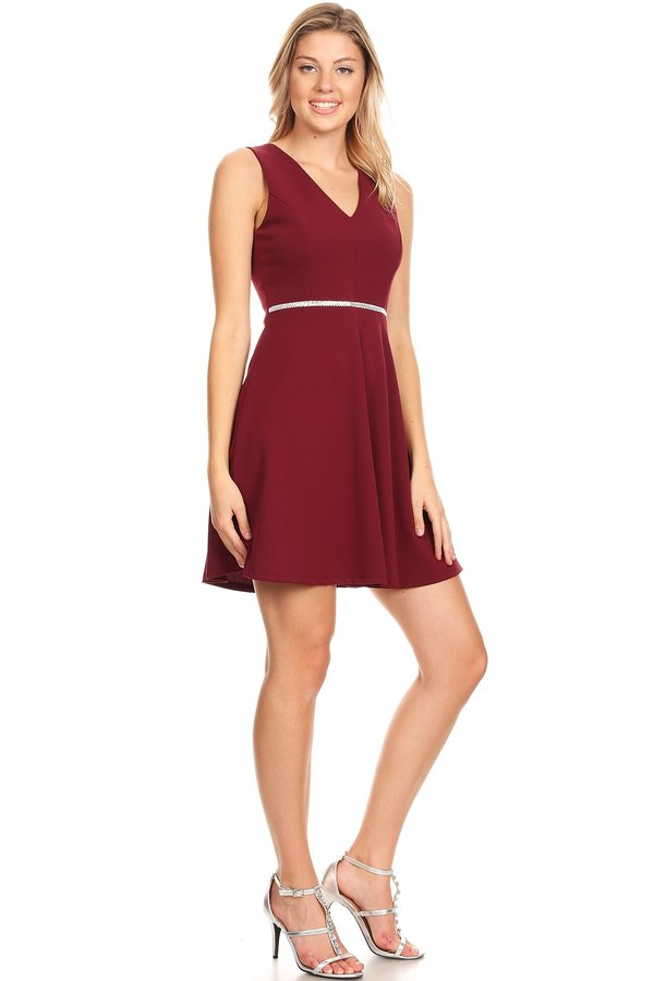 Wonderful Skater Short Dress in Burgundy