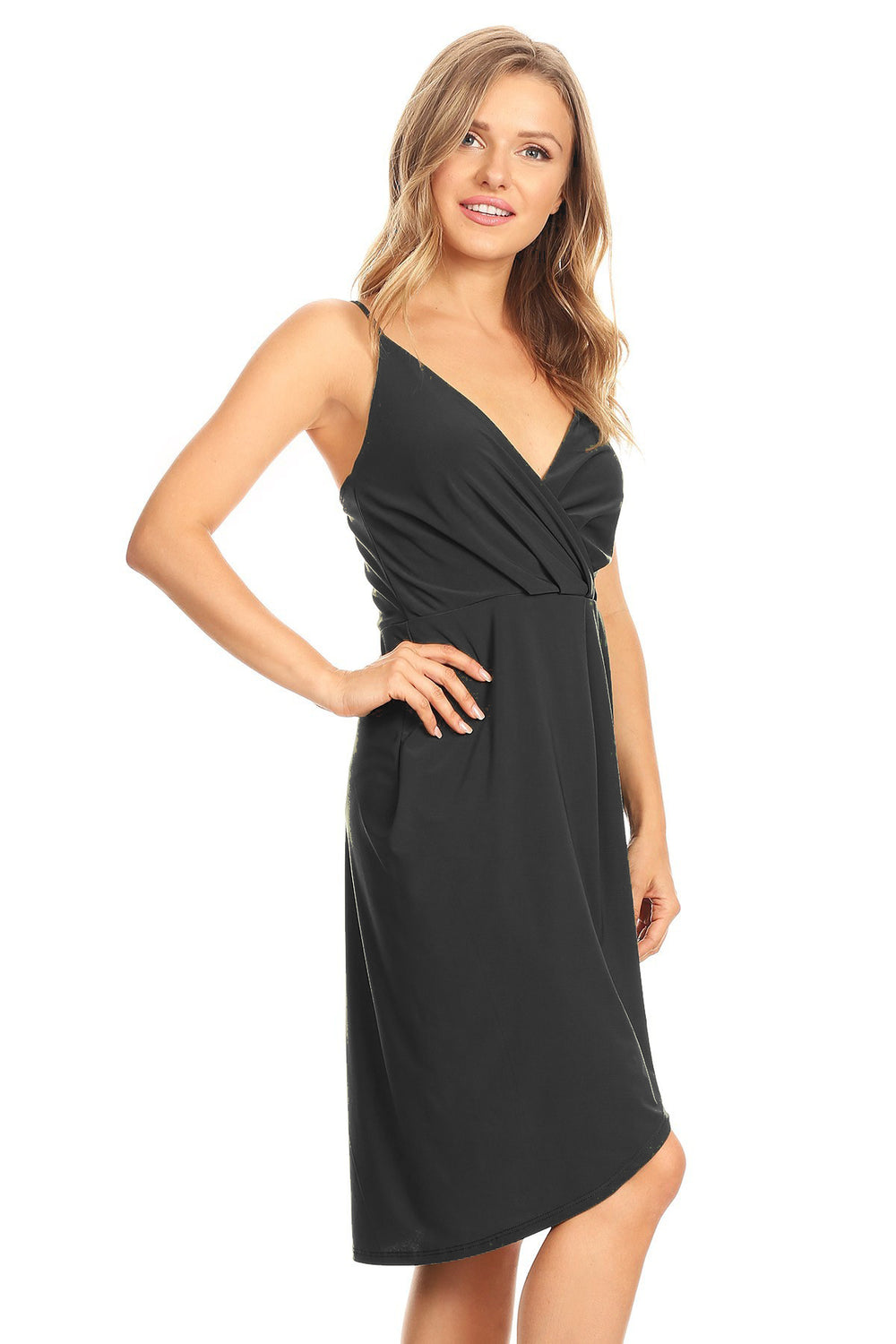 Black All Wrapped Up Short High Low Dress