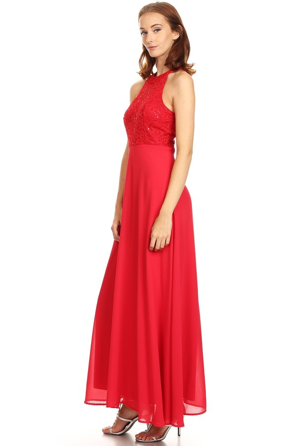 Prom Long Simple Bridesmaids Red Formal Dress
