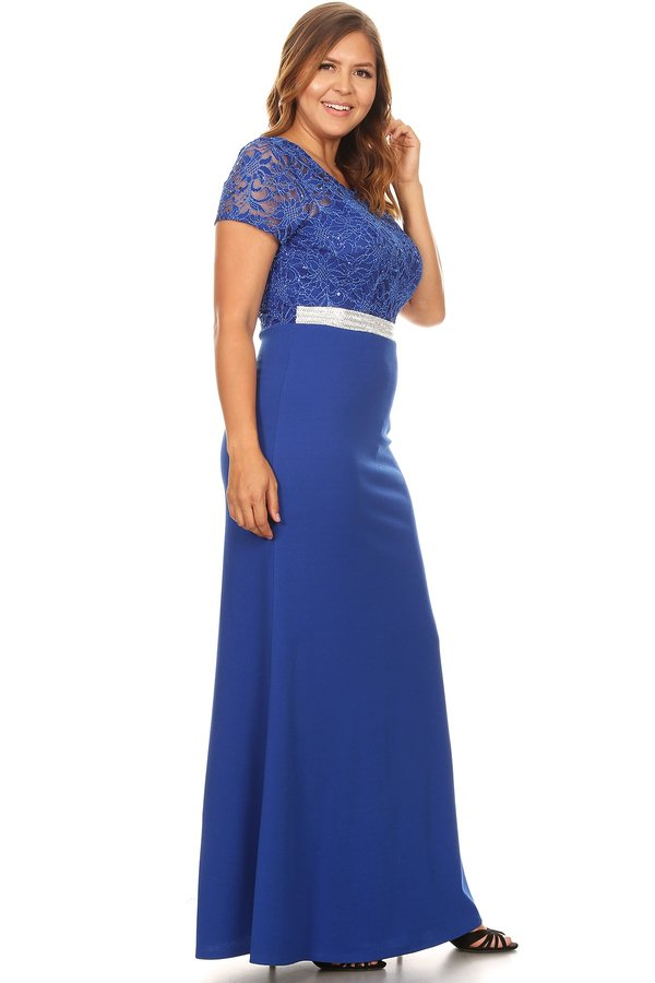 Short Sleeve Duo Fabric Royal Blue Plus Size Long Dress