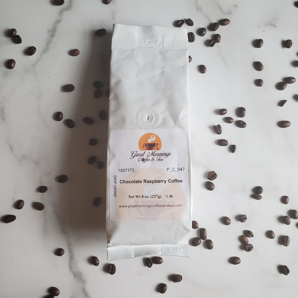 Coffee Bag on marble background with coffee beans