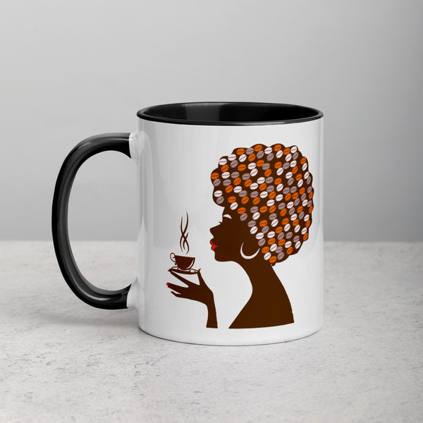 Woman with afro holding coffee cup on mug