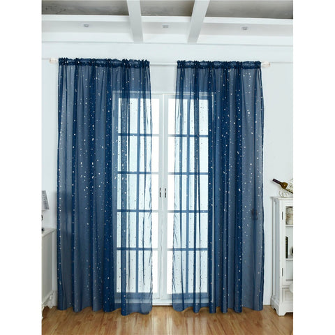 Star Decor Rod Pocket Sheer Curtain Single Panel