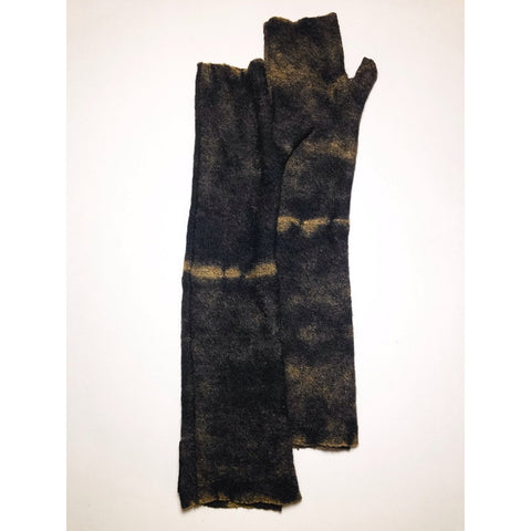Black Wool Long Fingerless Gloves