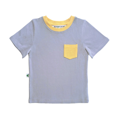 Contrast Pocket Tee - Gray & Yellow