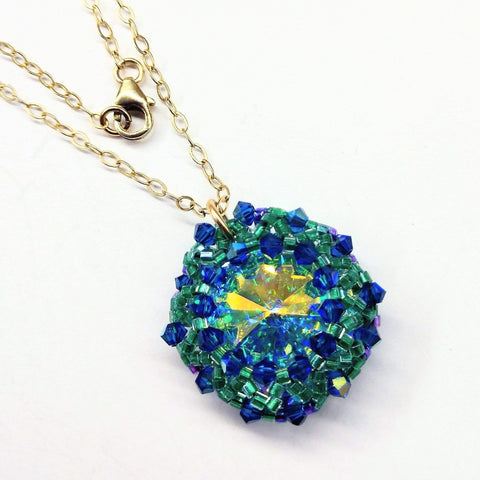 Blue Green Beaded Super Sparkly Rivoli Crystal Necklace