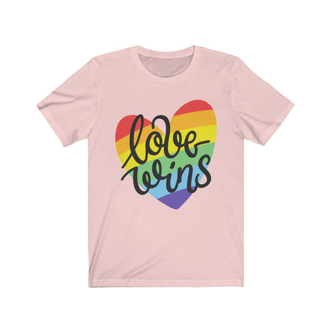 Love Wins Rainbow Heart Short Sleeve Tee