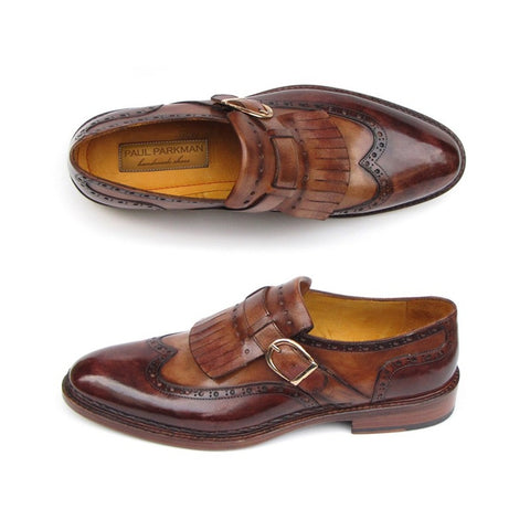 Paul Parkman Men's Wingtip Monkstrap Brogues Brown  Leather Upper With Double Leather Sole (ID#060-BRW) - F. W. Woolworth Co. Online Store