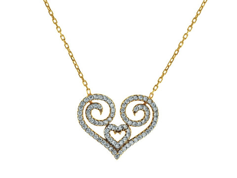 Nano CZ Greca Heart Necklace
