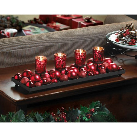 Festive Red Candleholder With Glittering Ornaments - F. W. Woolworth Co. Online Store