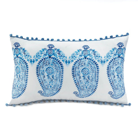 Tasseled Blue Paisley Pillow