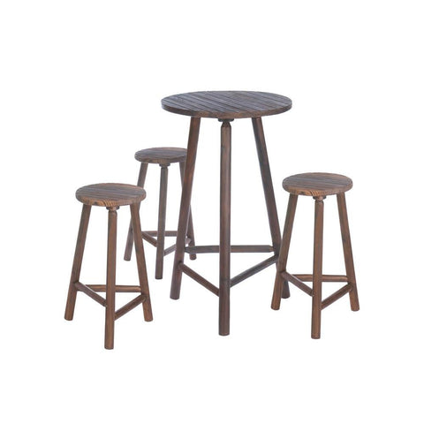 Fir Wood Bar Table And Stools Set - F. W. Woolworth Co. Online Store