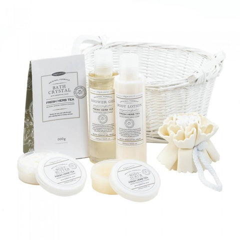 Fresh Herb Tea White Basket Spa Set - F. W. Woolworth Co. Online Store